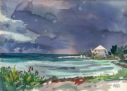 Key West Painting Metal Prints - Thunderstorm Over Key West Metal Print by Donald Maier