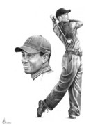 Celebrity Portraits Drawings Posters - Tiger Woods Poster by Murphy Elliott