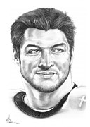 Famous People Drawings - Tim Tebow by Murphy Elliott