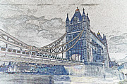 Lowry Digital Art Prints - Tower Bridge Art Print by David Pyatt