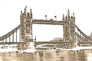 London Print Posters - Tower Bridge London Poster by David Pyatt