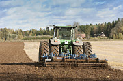 Cultivation Prints - Tractor With an Aerator Print by Jaak Nilson