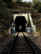 Railroads Framed Prints - Train Tunnel At The Muir Trestle in Martinez California . 7D10220 Framed Print by Wingsdomain Art and Photography