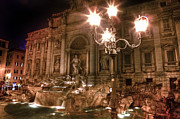 Sea Creatures Posters - Trevi fountain at night Poster by Joana Kruse