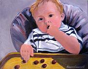 Highchair Posters - Trevor with Grapes Poster by Sharon Casavant