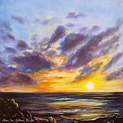 Warm Colors Paintings - Tropical Sunset by Gina De Gorna