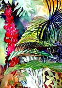 Red Leaves Drawings - Tropical Waterfall by Mindy Newman