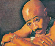 African-american Drawings Posters - Troubled Tupac Poster by Keith Burnette