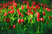 Beauty In Nature Painting Prints - Tulips Print by Hristo Hristov