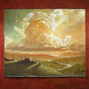 Tuscan Sunset Painting Originals - Tuscan Glow by Christopher Clark