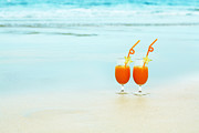 Juice Posters - Two glasses of orange juice Poster by MotHaiBaPhoto Prints