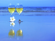 Wine Glasses Photos - Two glasses of white wine by MotHaiBaPhoto Prints