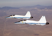 T-38 Talon Posters - Two T-38a Mission Support Aircraft Fly Poster by Stocktrek Images