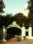 University Of California At Berkeley Metal Prints - UC Berkeley . Sproul Plaza . Sather Gate and Sather Tower Campanile . 7D10027 Metal Print by Wingsdomain Art and Photography