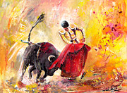 Bulls Painting Originals - Unbroken Spirit by Miki De Goodaboom