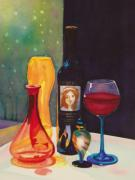 Decanters Painting Framed Prints - Untitled Glass Framed Print by Terry Honstead