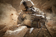 Combat Uniforms Posters - U.s. Army Ranger In Afghanistan Combat Poster by Tom Weber