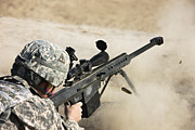 Rifle Sight Prints - U.s. Army Soldier Fires A Barrett M82a1 Print by Terry Moore