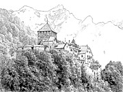 Swiss Alps Drawings - Vaduz Castle Vaduz Lichtenstein by Joseph Hendrix