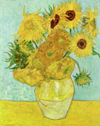 Fathers Paintings - Van Gogh Vase with Twelve Sunflowers  by Vincent van Gogh
