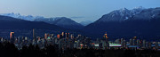 Vancouver Photos - Vancouver city Twilight Panorama by Pierre Leclerc