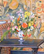 Interior Still Life Painting Metal Prints - Vase of Flowers Metal Print by Pierre Auguste Renoir