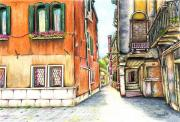 Colored Pencil Landscape Drawings Drawings - Venice In May by James Sayer