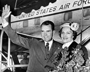 Future First Lady Posters - Vice President Richard Nixon And Wife Poster by Everett
