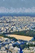 Europe Paintings - View of Athens and Panathenean stadium by George Atsametakis