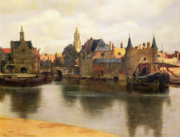 Jan Vermeer Paintings - View of Delft by Jan Vermeer