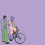 Culture Drawings - Vintage Bike Couple by Karl Addison