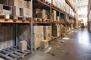 Cartons Posters - Warehouse Aisle Poster by Magomed Magomedagaev