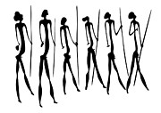 Silhouette Drawings Posters - Warriors - Primitive Art Poster by Michal Boubin