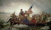 New Jersey Painting Posters - Washington Crossing the Delaware River Poster by Emanuel Gottlieb Leutze