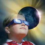 Glasses Reflecting Posters - Watching Solar Eclipse Poster by Detlev Van Ravenswaay
