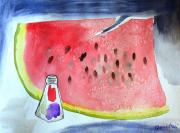 Watermelon Seeds Framed Prints - Watermelon Framed Print by Jamie Frier