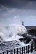 Overcast Day Prints - Waves Crashing, Sunderland, Tyne And Print by John Short