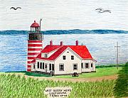 Famous Buildings Drawings Drawings - West Quoddy Head Lighthouse by Frederic Kohli
