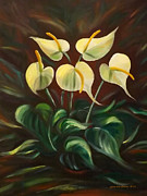 Gina Gray Paintings - White Flowers by Gina De Gorna