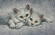 Felines Paintings - White on White by Cynthia House