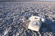 Dry Lake Photos - White Telephone on Dried Mud by Thom Gourley/Flatbread Images, LLC