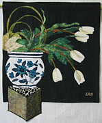 Still Life Tapestries Textiles Tapestries - Textiles - White Tulips by Lynda K Boardman