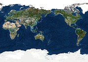 Cartography Photos - Whole Earth, Satellite Image by Planetobserver