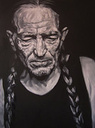 Singer Drawings - Willie Nelson by Steve Hunter