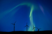 Efficiency Digital Art Posters - Wind Farm And Northern Lights Poster by Mark Duffy