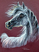 Horse Drawing Pastels Posters - Wind In The Mane Poster by Angel  Tarantella