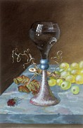 Marble Top Table Paintings - Wineglass by Terry  Stokely