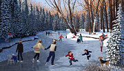Winter Sports Painting Prints - Winter Fun at Bowness Park Print by Neil Woodward