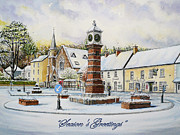 Snow Scene Drawings - Winter in Twyn Square by Andrew Read