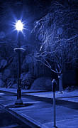 Winter Storm Metal Prints - Winter Sidewalk Blues Metal Print by John Stephens